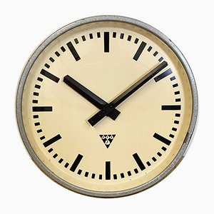 Industrial Gray Wall Clock from Pragotron, 1960s