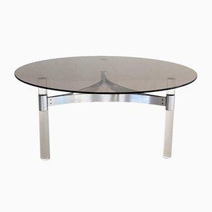 Table Basse en Verre Fumé avec Base en Lucite & Chrome, France, 1970s