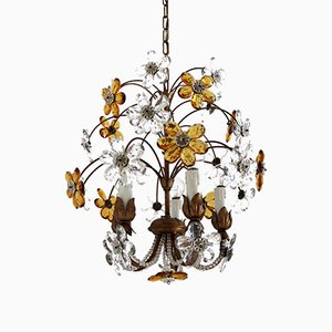 Italian Vintage Chandelier with Murano Glass Drops, 1970s
