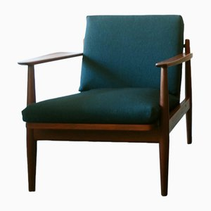 Mid-Century Danish Teak & Sea Blue Green Fabric Lounge Chair
