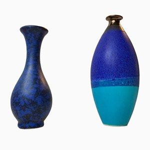 Skandinavische Blaue Vintage Steingut Vasen, 2er Set
