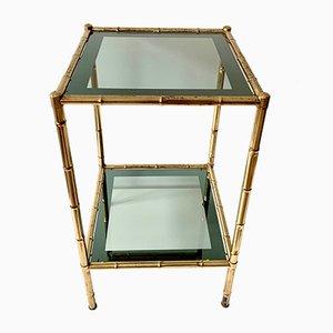 Tavolino o consolle in ottone a forma di bambù