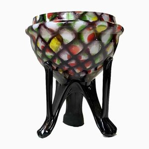 Art Deco Harlequin Glass Posy Vase by Franz Weltz, 1930s