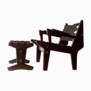 Sessel und Hocker von Angel Pazmiño für Muebles De Estilo, 1960, 2er Set
