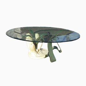 Tavolino da caffè Anemone organico in bronzo e resina con ripiano in vetro, anni '70