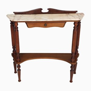 Mid-Century Wooden Console Table with Portuguese Pink Marble Top, Italy