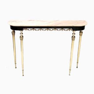 Mid-Century Ebonized Beech Console Table with Portuguese Pink Marble Top, Italy