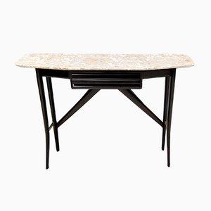 Mid-Century Holz Konsolentisch mit Lumachella Tischplatte aus Marmor, Italien
