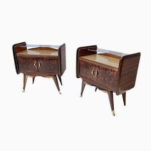 Mid-Century Walnut Nightstands with Golden Back-Painted Glass Tops, Set of 2