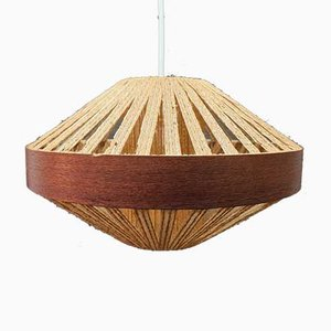 Mid-Century Pendant Lamp in Straw and Teak