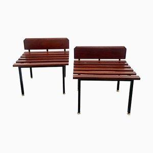Kleine Bänke aus Holz & Messing mit Rückenlehne, Italien, 1960er, 2er Set