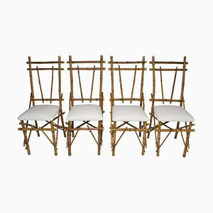 Bamboo Brass Dining Chairs, 1960s, Set of 4