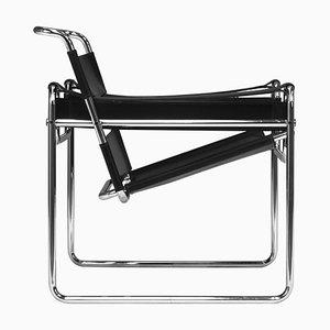 Silla Wassily de cuero negro de Marcel Breuer para Knoll, años 70