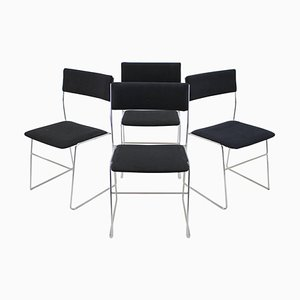 Minimalist Chrome Plated Dining Chairs, Czechoslovakia, 1970s, Set of 4