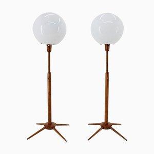 Adjustable Wooden Floor Lamps, Czechoslovakia, 1960s, Set of 2