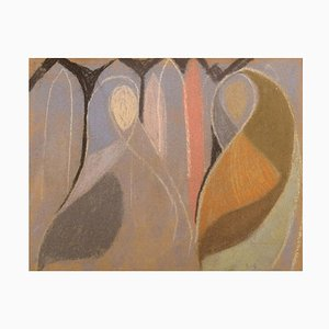Oil Crayon on Paper, Abstract Composition, Mid-20th-Century