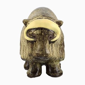 Musk Ox in Hand-Painted Glazed Ceramics by Erik Engqvist for Jie Keramik