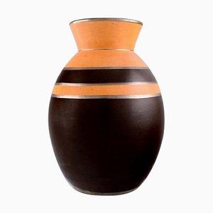Jarrón modelo D1818 Art Déco de cerámica vidriada de Boch Freres Keramis