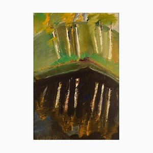 Egil Carlsson B., 1920, Sweden, Oil on Canvas, Modernist Park Landscape, 1977