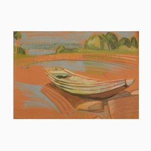Robert Hancock, Finnland, Ölkreide auf Papier, Moderne Landschaft