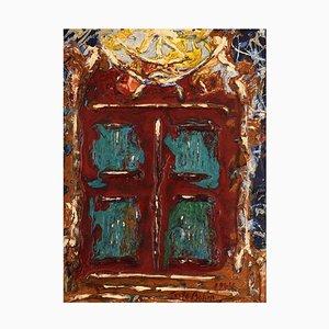Gösta Bohm, Sweden, Oil on Board, Modernist Composition, Red Gate
