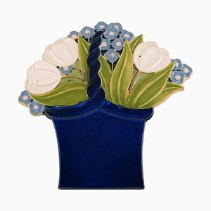 Large Wall Plaque of Flower Bouquet by Margareta Hennix for Gustavsberg