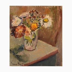 Inez Byland, Sweden, óleo sobre lienzo, bodegón modernista con flores