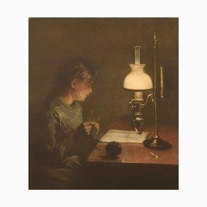 Peter Ilsted, 1861-1933, Mezzotinta in colori, Interno con una donna che lavora a maglia