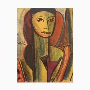 Dorlen Court, Mischtechnik auf Papier, Kubistisches Frauenporträt, 1971