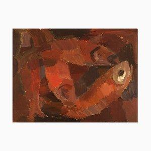 Joyce Swanljung, Schweden, Öl auf Leinwand, Komposition mit Fisch