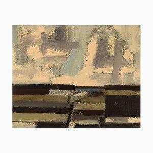 Egon Møldrup B., 1926, Denmark, Oil on Canvas, Modernist Landscape, 1960s