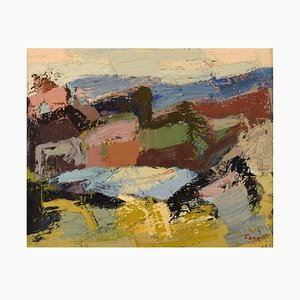 Gösta Falck, Schweden, Öl auf Leinwand, Abstrakte Landschaft, 1960er