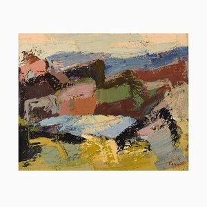 Gösta Falck, Sweden, Oil on Canvas, Abstract Landscape, 1960s