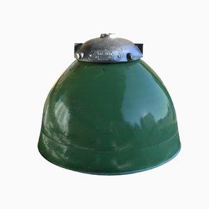 Lámpara industrial francesa verde de Sammode, 1940