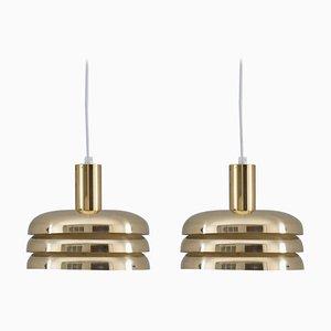 Lámparas colgantes suecas Mid-Century de latón de Hans-Agne Jakobsson. Juego de 2