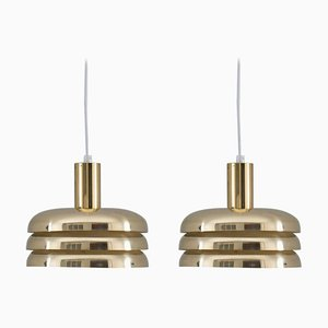 Mid-Century Swedish Pendants in Brass by Hans-Agne Jakobsson, Set of 2