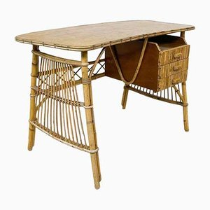 Vintage Rattan and Bamboo Desk