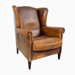 Vintage Worn Sheep Leather Wingback Armchair