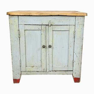 Small Industrial Painted Wooden Cupboard
