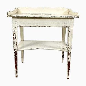 French Antique White Painted Side Table