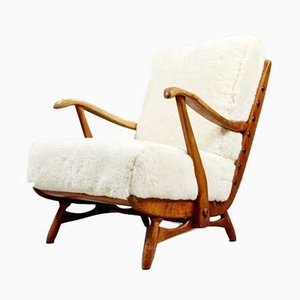 Solid Teak Armchair with Sheepskin Upholstery, 1960s