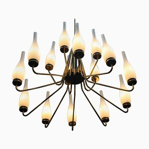 Large Brass Chandelier with Vases from Stilnovo, Italy, 1950s