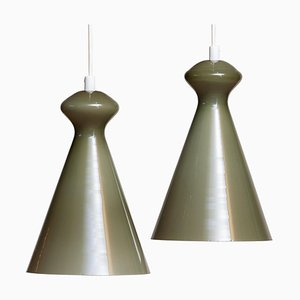 Glass Pendants in Olive Green by Maria Lindeman for Idman Oy Finland, 1950s, Set of 2