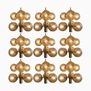 Sputnik Glass Globes Patinated Brass Chandeliers from Kaiser, Germany, 1970s, Set of 9