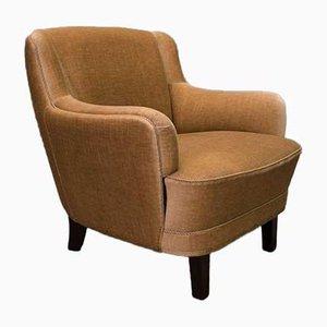 Goldener Dänischer Mid-Century Sessel mit Niedriger Rückenlehne, 1950er