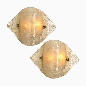 Murano Opal Clear Glass Sconces or Wall Lights from Kalmar, 1970s, Set of 2