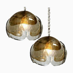 Kalmar Style Pendant Lights in Smoked Glass and Brass, 1970s, Set of 2