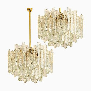 Brass Two-Tiered Ice Glass Pendant Chandeliers from Kalmar, 1970s, Set of 2