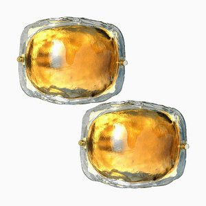 Brass and Brown Glass Hand Blown Murano Glass Wall Lights by J. Kalmar for Isa, Set of 2