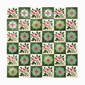 Mixed Glasierte Rose Fliesen von SA Produits Ceramiques De La Dyle, 1930er